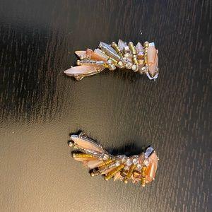 Wing shaped jewel earrings
